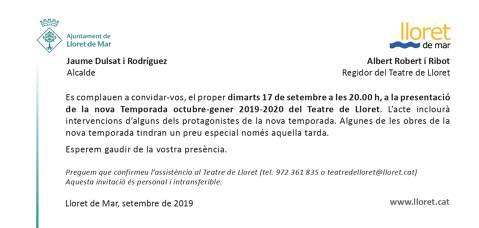 Presentació nova temporada del Teatre de Lloret octubre-gener