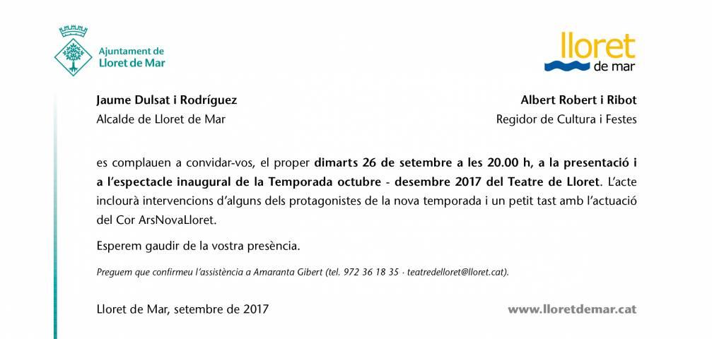 PRESENTACIÓ DE LA TEMPORADA DE TARDOR DEL TEATRE DE LLORET